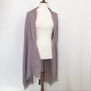 New! Lisa Klein Large Striped Scarf Frayed Hem